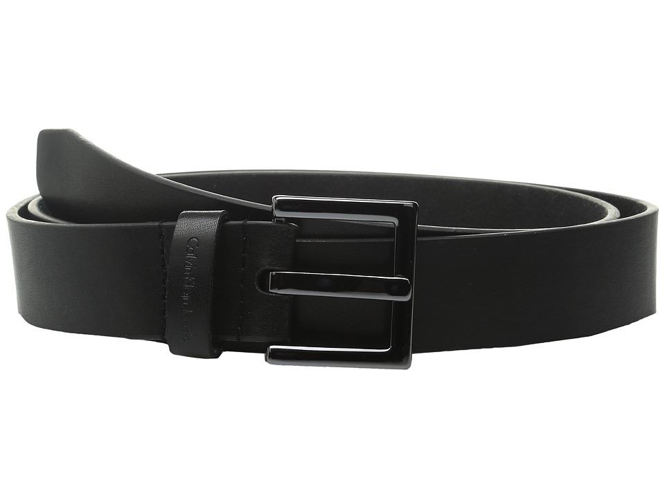 Calvin Klein 1 3/8 Gunmetal Buckle CKJ Embossed Loop Black Womens Belts