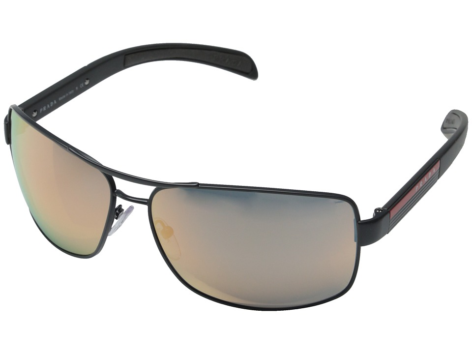 Prada Linea Rossa 0PS 54IS Grey Demishiny/Grey Mirror Rose Gold Metal Frame Fashion Sunglasses