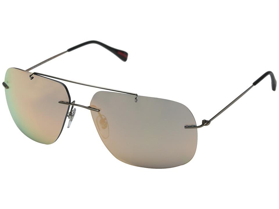 Prada Linea Rossa 0PS 55PS Matte Brown/Grey Mirror Rose Gold Fashion Sunglasses