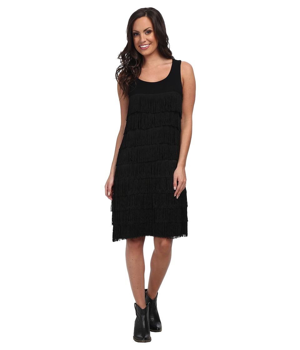 Tasha Polizzi Fringe Dress (Black) Women's Dress