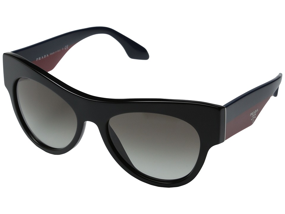 Prada 0PR 28QS Black/Blue Red/Gradient Grey Fashion Sunglasses