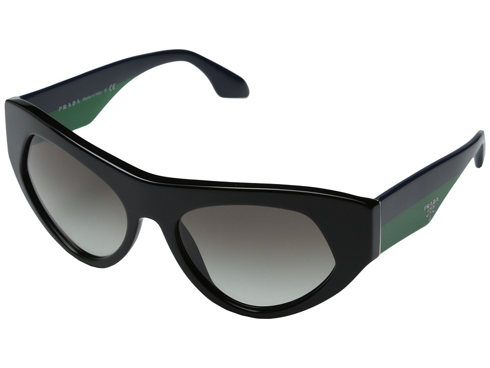 Prada 0PR 27QS Black/Blue Green/Gradient Grey Fashion Sunglasses