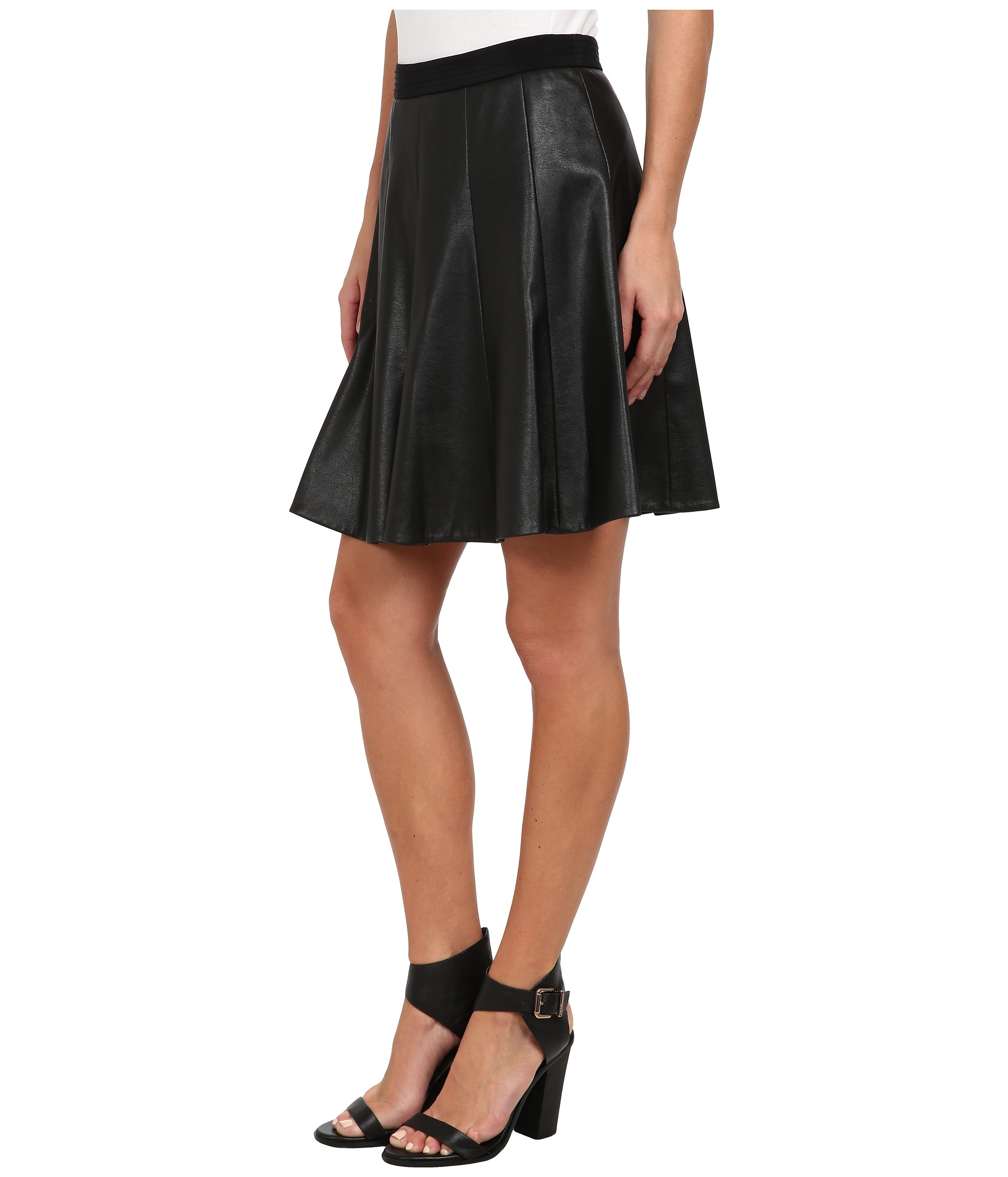 faux leather flounce skirt shipped free