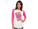 Gypsy SOULE - Queen of Soule Burnout Baseball Tee w/ Fuchsia Sleeves and White Body (Pink)