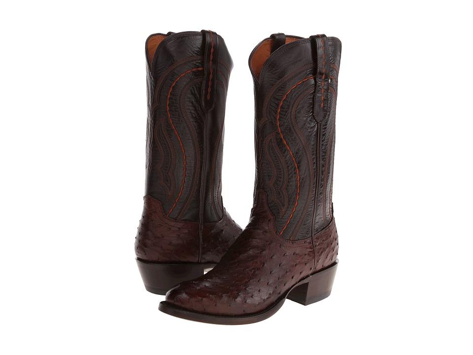 Lucchese M1607.R4 (Sienna F.Q. Ostrich/Dark Brown Derby Calf) Cowboy Boots