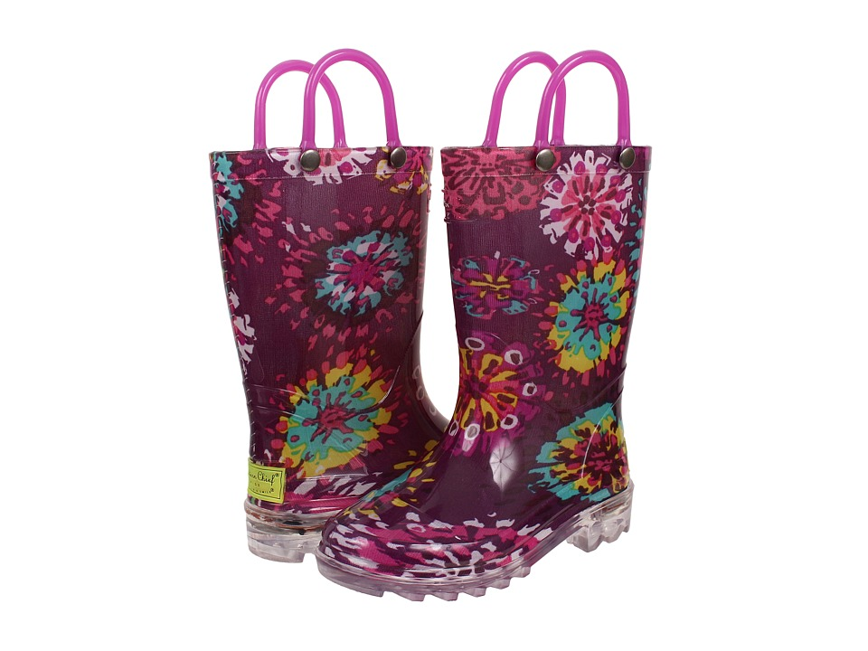 Western Chief Kids - Abstract Blooms Lighted (Toddler/Little Kid) (Purple) Girls Shoes