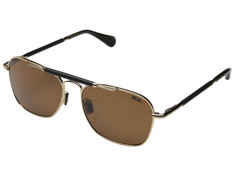 Zeal Optics Draper Polished Gold w / Polarized Copper Lens Fashion Sunglasses
