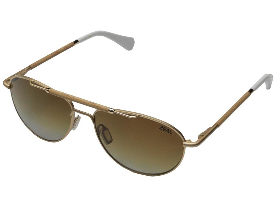 Zeal Optics Fairmont Matte Gold w / Gradient Polarized Copper Lens Fashion Sunglasses