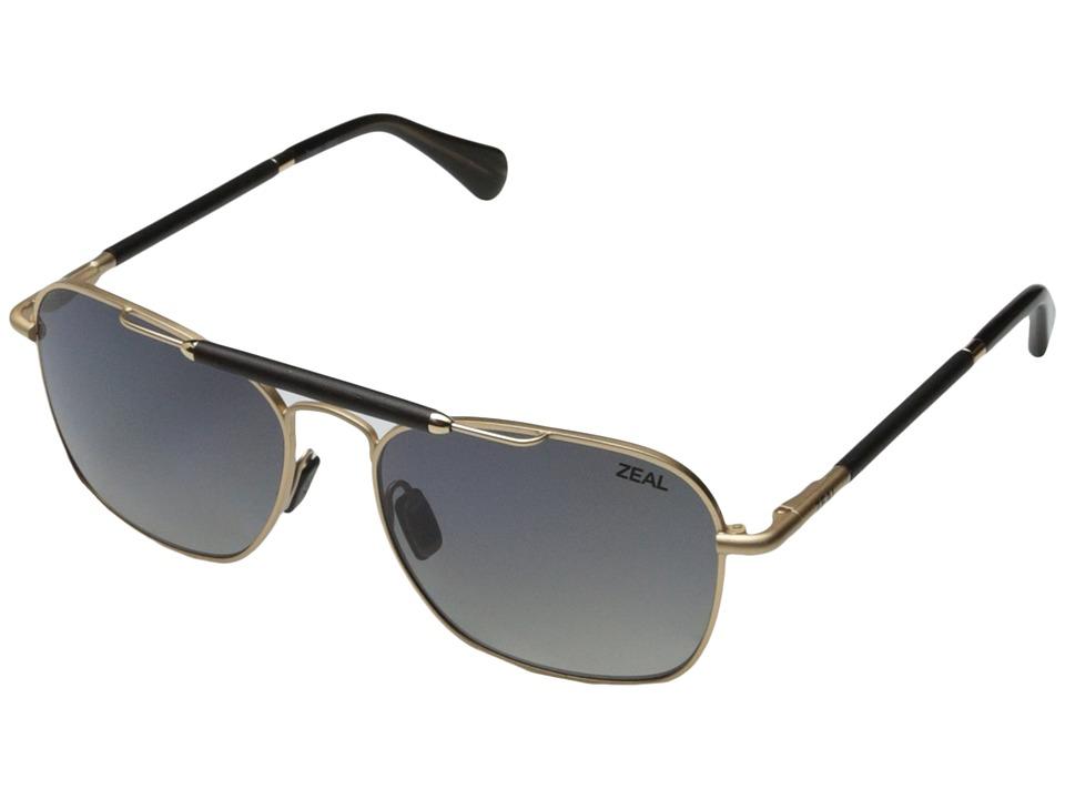 Zeal Optics Draper Matte Gold w / Gradient Polarized Dark Grey Lens Fashion Sunglasses