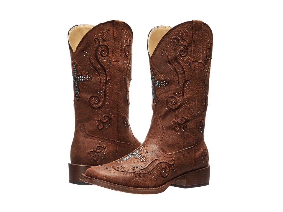 Roper Crystal Cross Square Toe Boot (Brown) Cowboy Boots