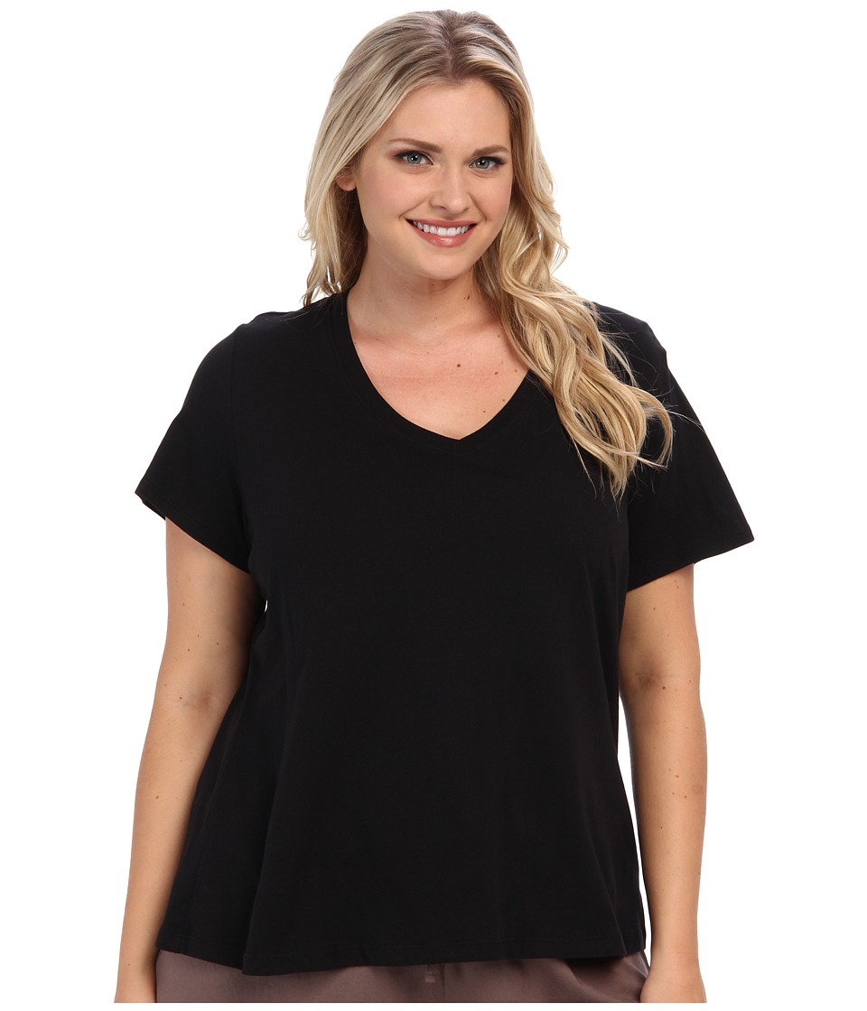Jockey - Jockey Cotton Essentials Plus Size V-Neck Tee (Black) Womens Pajama