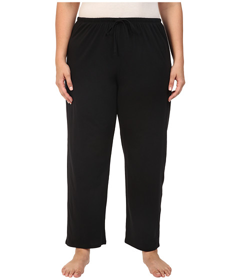 Jockey Plus Size Cotton Jersey Long Pajama Pant (Black) Women's Pajama