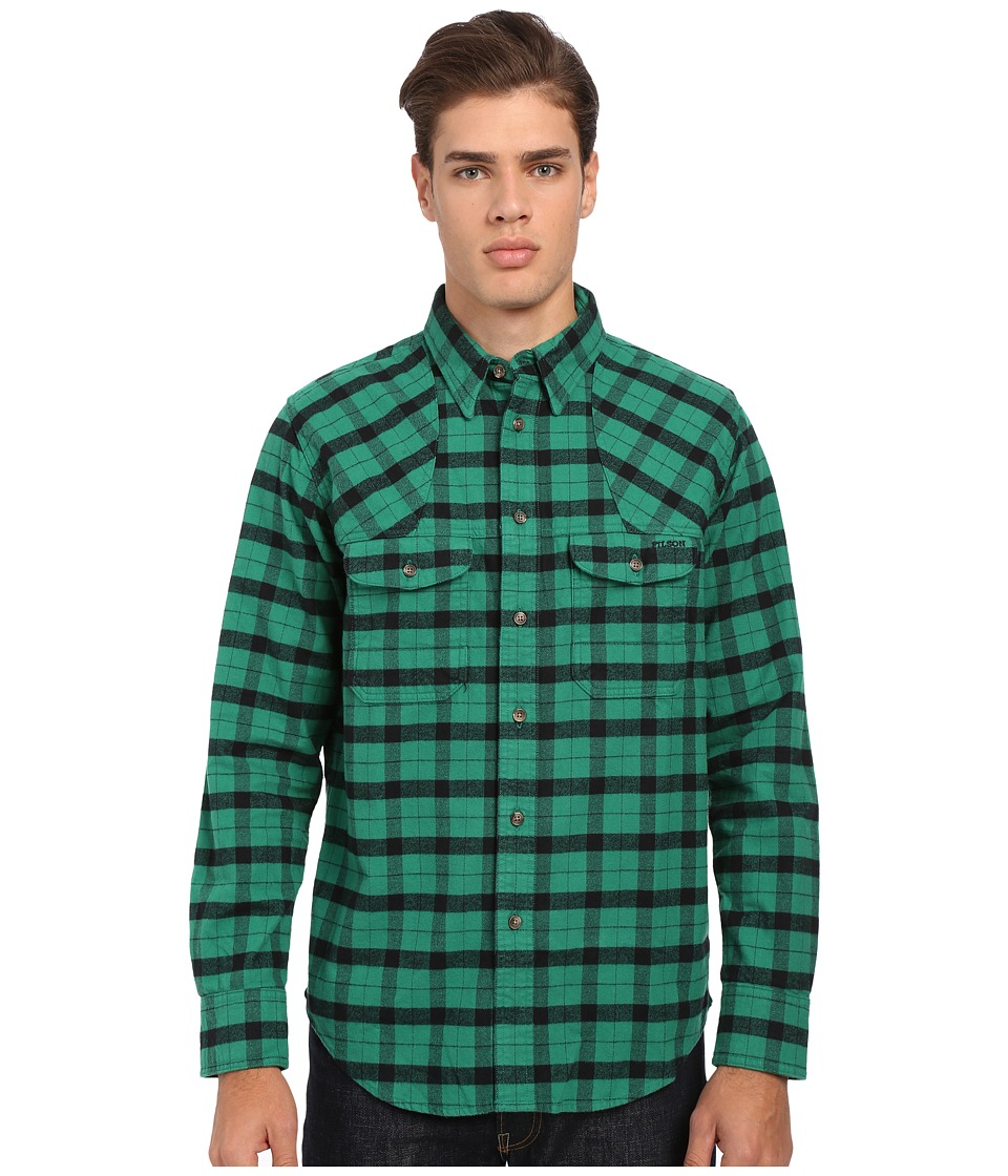 Filson Hunting Shirt Flannel Green Black Mens Long Sleeve Button Up