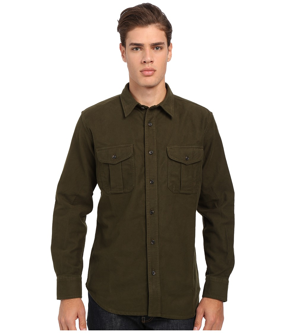 Filson Moleskin Seattle Shirt Dark Green Mens Long Sleeve Button Up