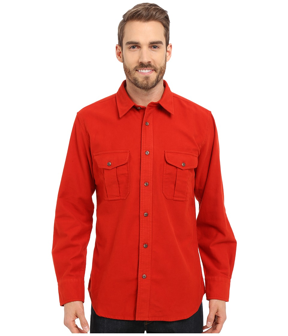Filson Moleskin Seattle Shirt Burnt Orange Mens Long Sleeve Button Up