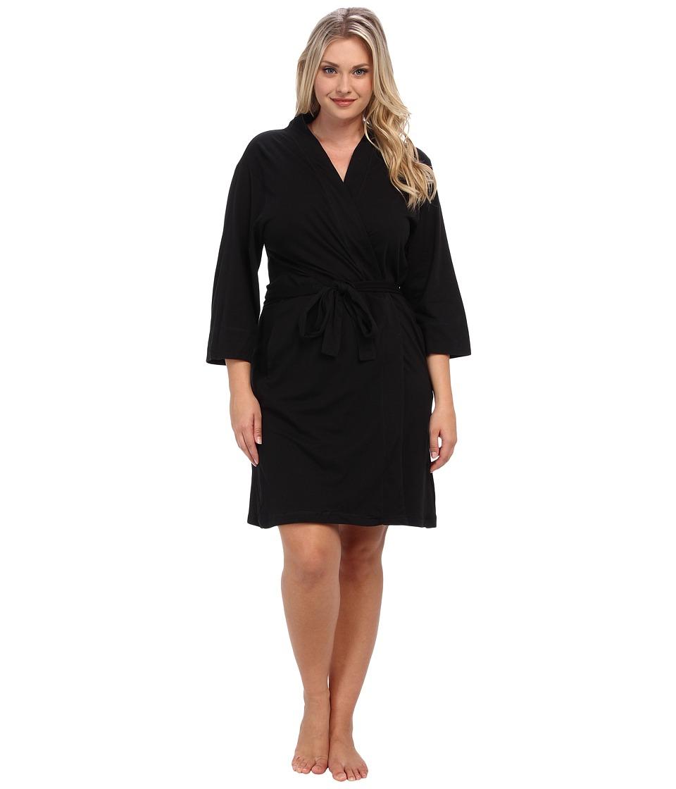 JOCKEY Cotton Essentials Plus Size Robe (Black) Women's Robe