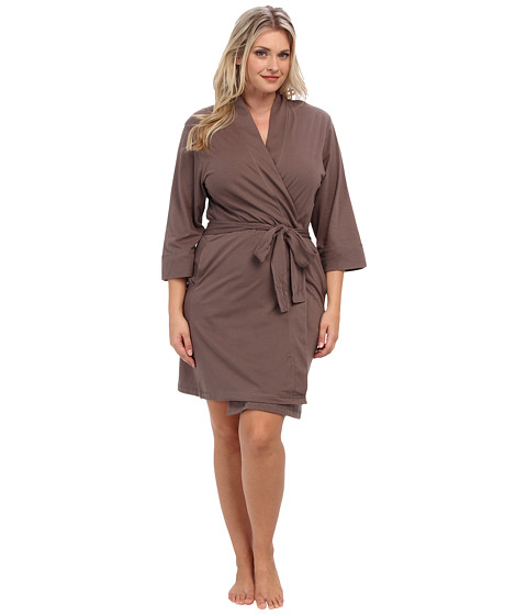 Jockey Plus Size Cotton Jersey Robe (Truffle) Women's Robe