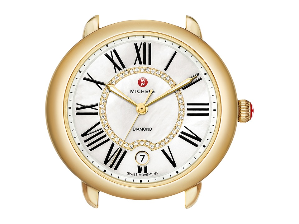 Michele Serein 16 Gold Diamond Dial Watch Head Gold Watches