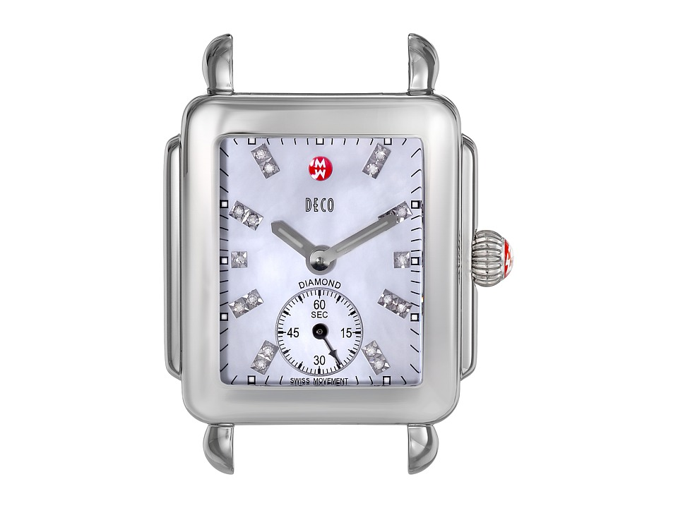Michele Watches Deco 16, Diamond Dial Silver/Steel Watch ...