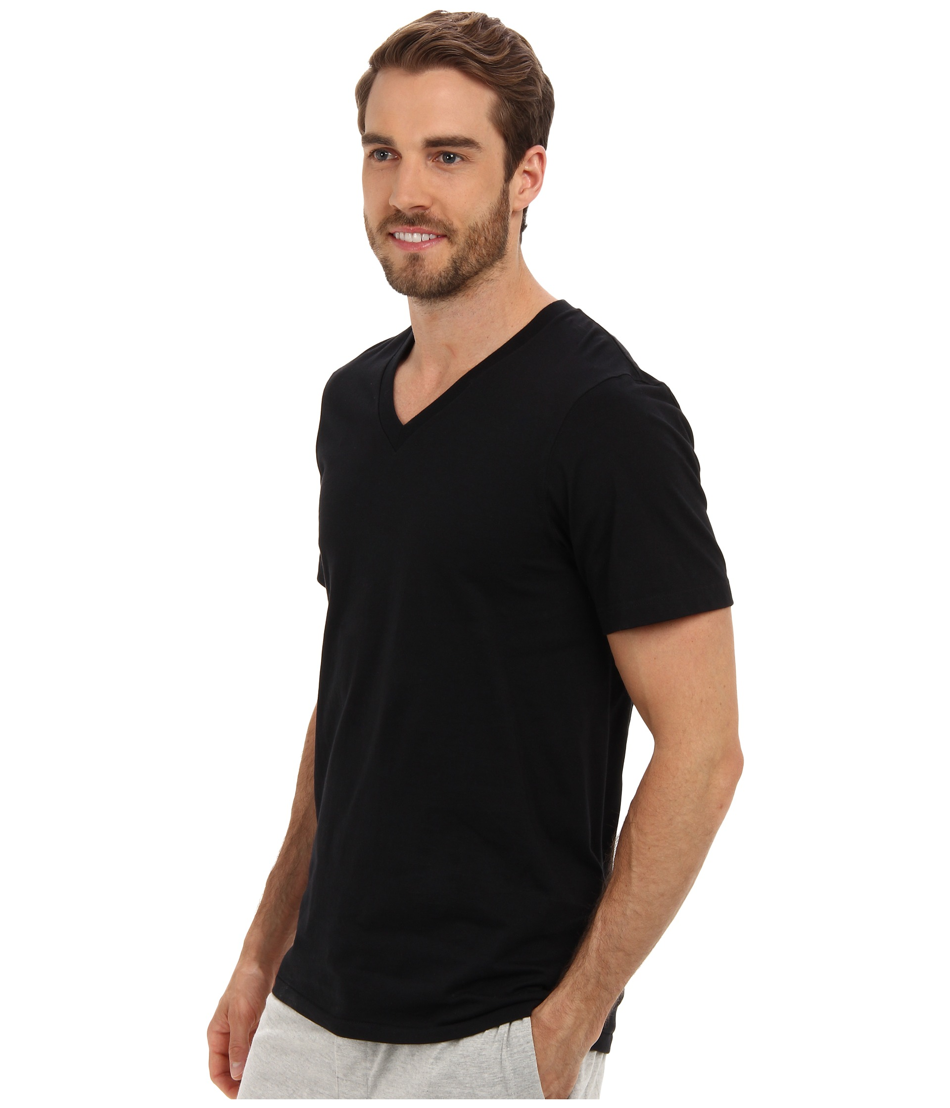 Jockey cotton v neck t shirt 3 pack black for Jockey v neck shirt