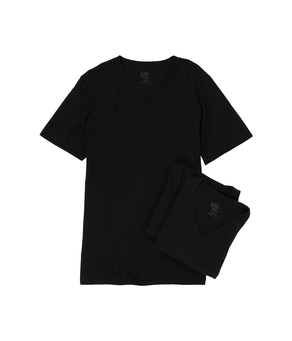 Jockey Cotton V Neck T Shirt 3 Pack Black Mens Underwear