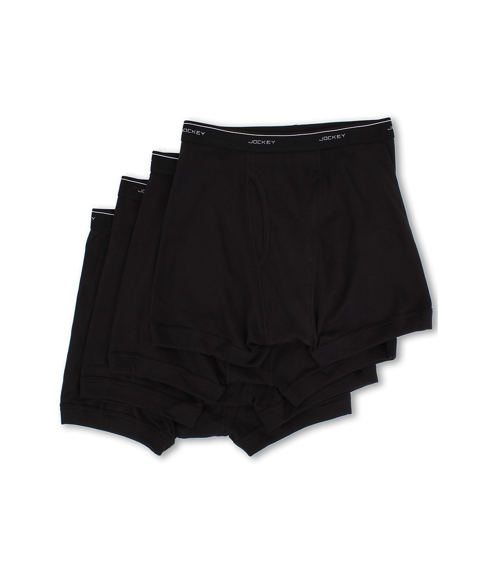 JOCKEY Cotton Full-Rise Boxer Brief 4-Pack (Black) Men's ...