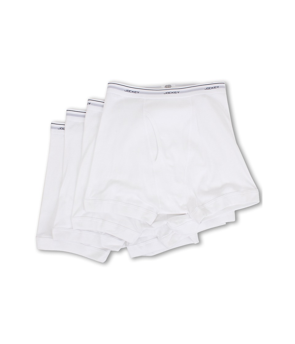 Jockey Cotton Full Rise Boxer Brief 4 Pack White Mens Underwear