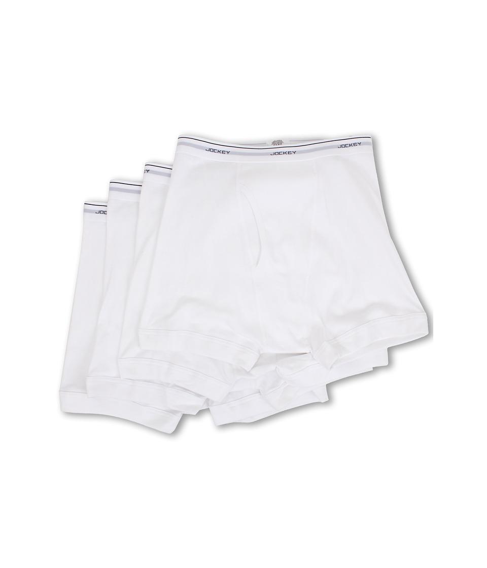JOCKEY Cotton Full-Rise Boxer Brief 4-Pack (White) Men's ...