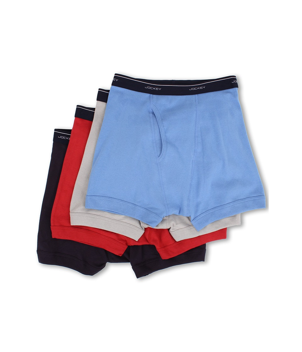 Jockey Cotton Full Rise Boxer Brief 4 Pack Helios Silver/Silver/Cosmic Blue/Red Virtual Mens Underwear