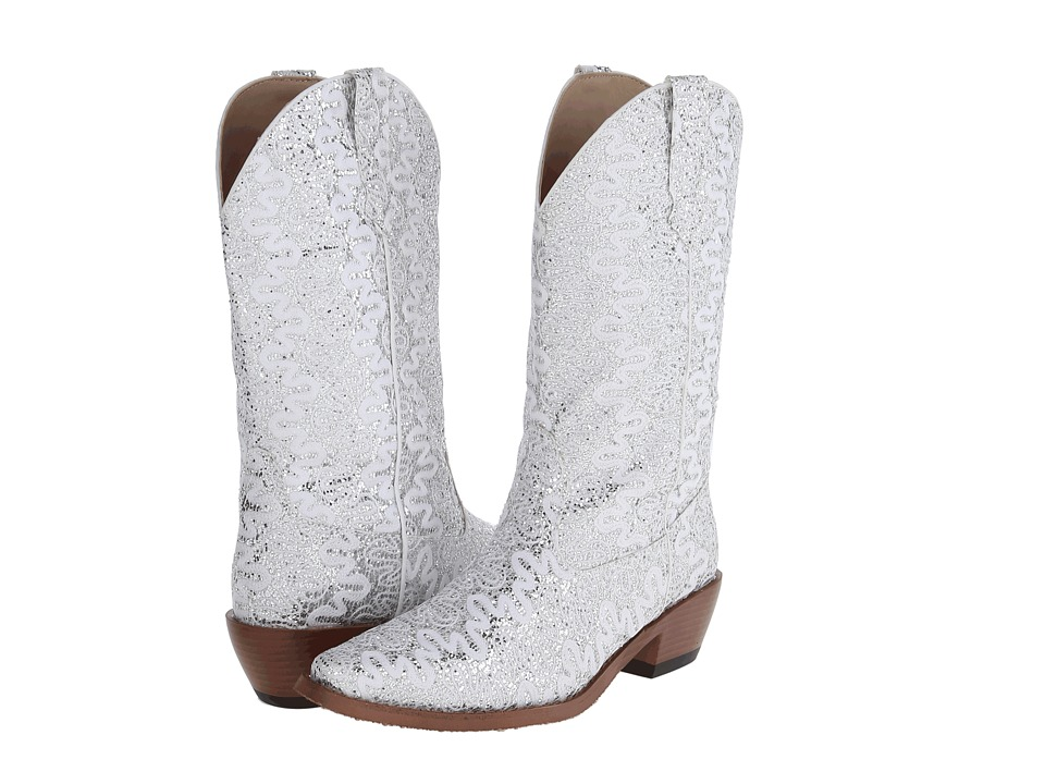 Roper - Lace Glitter Snip Toe Boot (White) Cowboy Boots