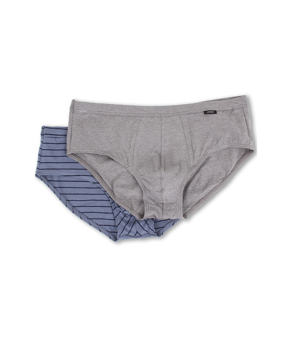 Jockey Cotton Stretch Low Rise Brief 2 Pack Grey Heather/Luke Stripe Mens Underwear