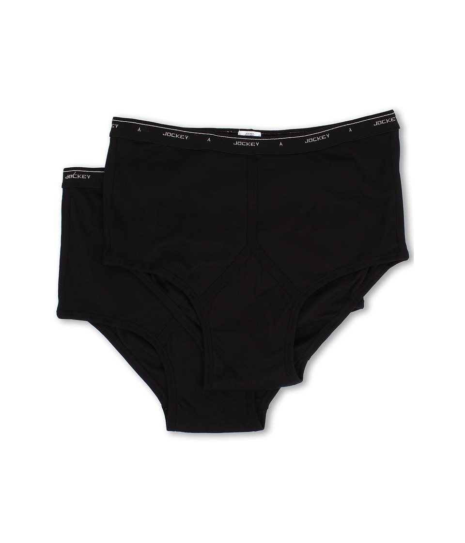 Jockey Big Man Cotton Brief 2 Pack Black Mens Underwear
