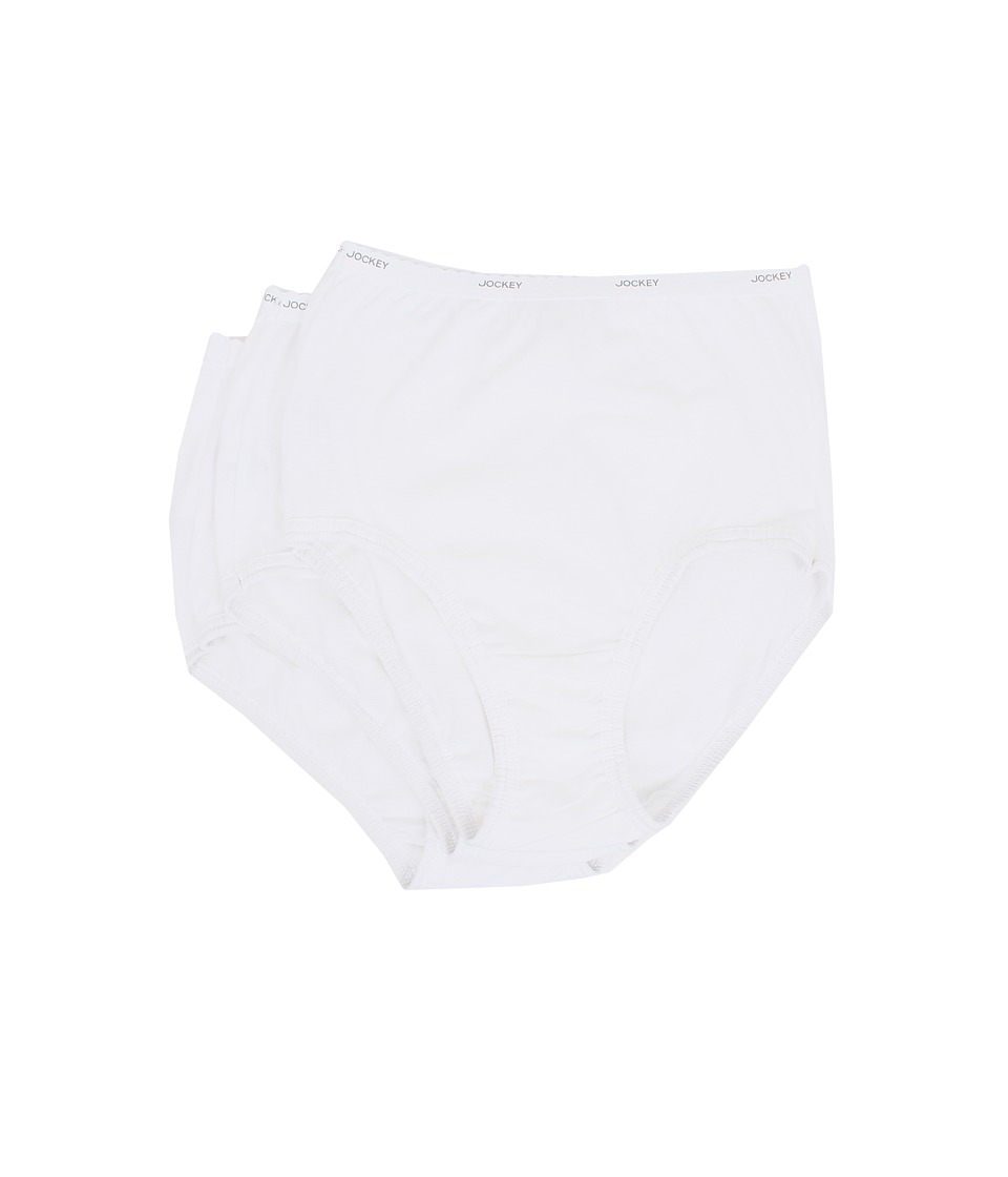 Jockey Classics Full Cut Brief 3 Pack White Womens Underwear