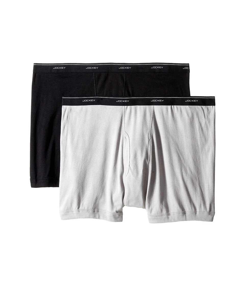 Jockey Big Man Cotton Boxer Brief 2 Pack Black/Grey Mens Underwear
