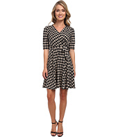 Christin Michaels - Tanagers Houndstooth Wrap Dress