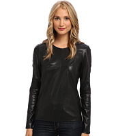 BCBGMAXAZRIA - Callan Mesh Back Faux Leather Top