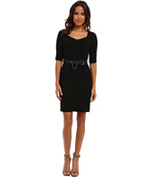 Adrianna Papell - Belted Dress with Lace Trim w/ Leather belt