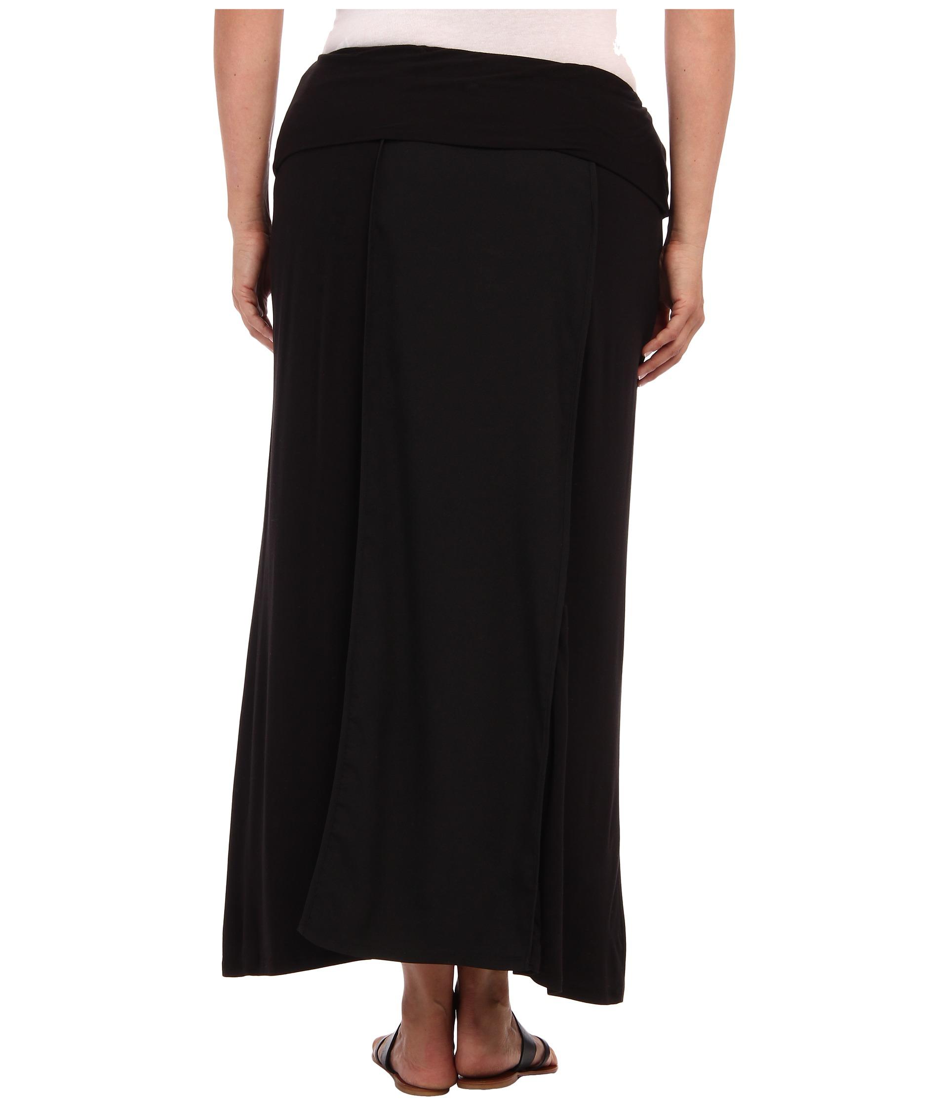 calvin klein plus plus size flanged maxi skirt black