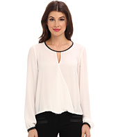 Adrianna Papell - L/S Draped Blouse w/ Slight V-Neck and Gathered Cuff