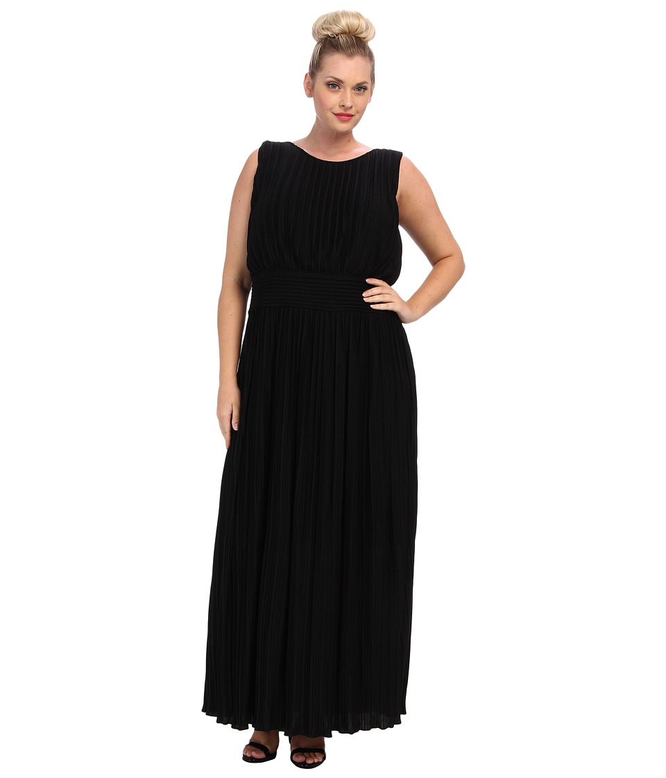 Calvin Klein Plus Plus Size Pleated Maxi Dress Black Womens Dress