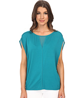 Adrianna Papell - Slouched Jersey w/ Chiffon V-Neck and Shoulder Detail