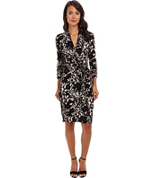 Adrianna Papell - Floral Printed Faux Wrap Dress