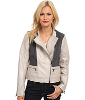 Adrianna Papell - Moto Leather Jacket w/ Leather Sleeves