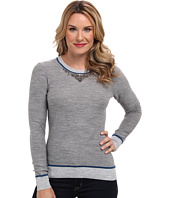 Adrianna Papell - Embroidered Neckline Color Blocked Sweater