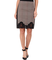 Adrianna Papell - Pencil Skirt w/ Faux Leather Trim & Lace Detail