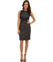 Adrianna Papell - S/L Dress w/ Solid Ponte Trim