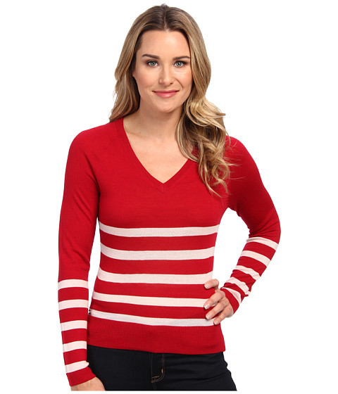 Lacoste Long Sleeve Placement Stripe V-Neck Sweater
