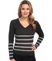 Lacoste - Long Sleeve Placement Stripe V-Neck Sweater