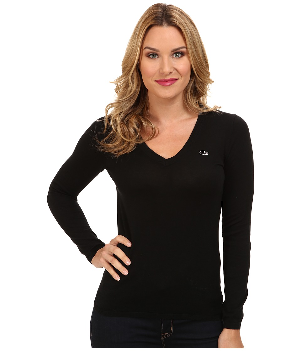 Lacoste Long Sleeve Cotton Double Overlay V Neck Sweater Black Womens Long Sleeve Pullover