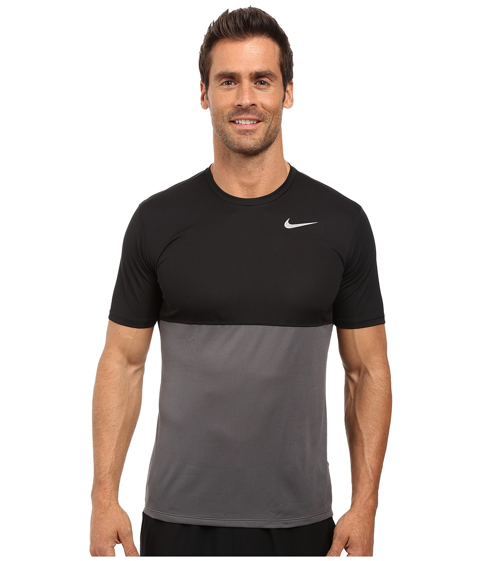 Nike Dry Short Sleeve Running Top (Dark Grey/Black/Black/Reflective Silver) Men